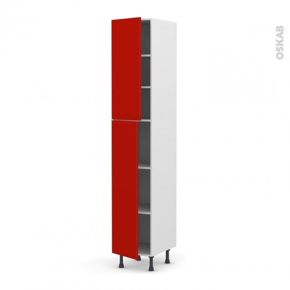 GINKO Rouge - Armoire étagère N°2326  - 2 portes - L40xH217xP58