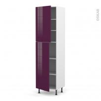 Colonne de cuisine N°2427 - Armoire étagère - KERIA Aubergine - 2 portes - L60 x H217 x P58 cm
