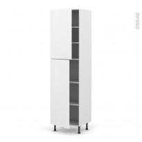 Colonne de cuisine N°2427 - Armoire étagère - GINKO Blanc - 2 portes - L60 x H217 x P58 cm