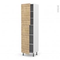 Colonne de cuisine N°2427 - Armoire étagère - HOSTA Chêne naturel - 2 portes - L60 x H217 x P58 cm