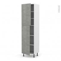 Colonne de cuisine N°2427 - Armoire étagère - FAKTO Béton - 2 portes - L60 x H217 x P58 cm