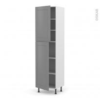 Colonne de cuisine N°2427 - Armoire étagère - FILIPEN Gris - 2 portes - L60 x H217 x P58 cm