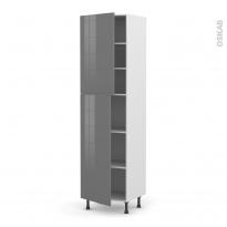 Colonne de cuisine N°2427 - Armoire étagère - STECIA Gris - 2 portes - L60 x H217 x P58 cm