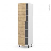 Colonne de cuisine N°2427 - Armoire étagère - IPOMA Chêne naturel - 2 portes - L60 x H217 x P58 cm