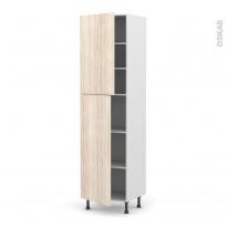 Colonne de cuisine N°2427 - Armoire étagère - IKORO Chêne clair - 2 portes - L60 x H217 x P58 cm