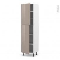 Colonne de cuisine N°2427 - Armoire étagère - KERIA Moka - 2 portes - L60 x H217 x P58 cm