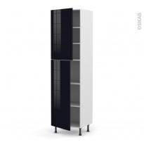 Colonne de cuisine N°2427 - Armoire étagère - KERIA Noir - 2 portes - L60 x H217 x P58 cm