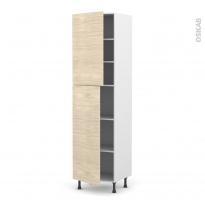 Colonne de cuisine N°2427 - Armoire étagère - STILO Noyer Blanchi - 2 portes - L60 x H217 x P58 cm