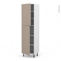 Colonne de cuisine N°2427 - Armoire étagère - GINKO Taupe - 2 portes - L60 x H217 x P58 cm