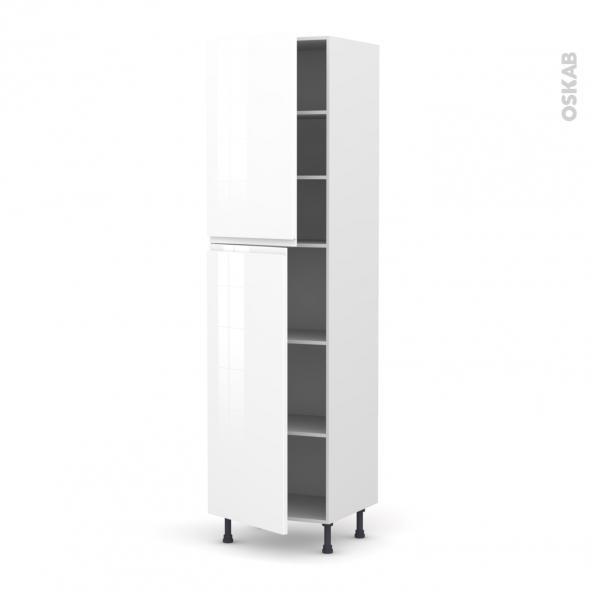Colonne de cuisine N°2427 - Armoire étagère - IPOMA Blanc - 2 portes - L60 x H217 x P58 cm