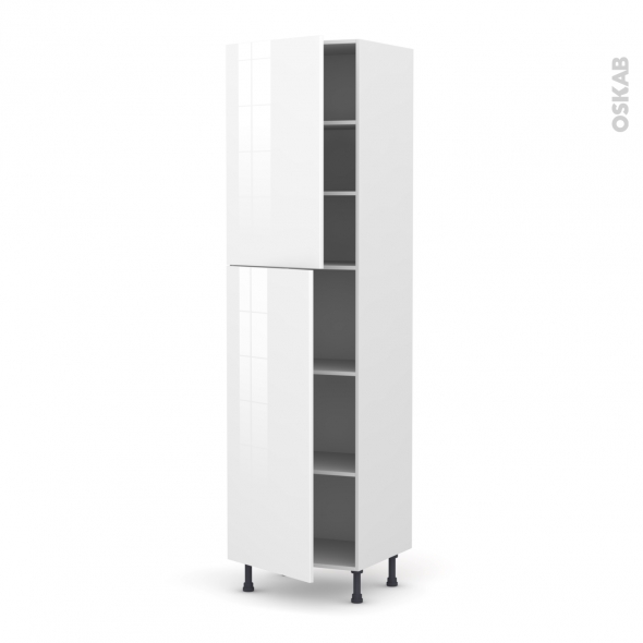 Colonne de cuisine N°2427 - Armoire étagère - STECIA Blanc - 2 portes - L60 x H217 x P58 cm