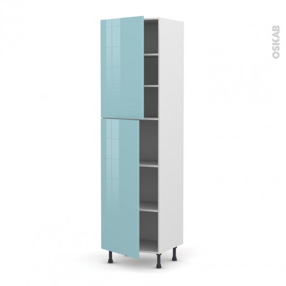 Colonne de cuisine N°2427 - Armoire étagère - KERIA Bleu - 2 portes - L60 x H217 x P58 cm