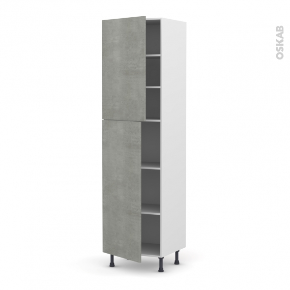 FAKTO Béton - Armoire étagère N°2427  - 2 portes - L60xH217xP58