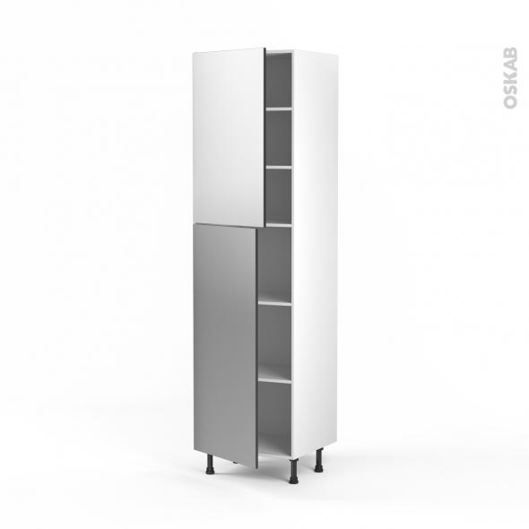 STILO Inox - Armoire étagère N°2427  - 2 portes - L60xH217xP58