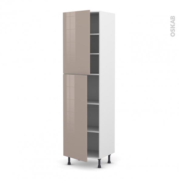 KERIA Moka - Armoire étagère N°2427  - 2 portes - L60xH217xP58