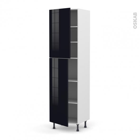 KERIA Noir - Armoire étagère N°2427  - 2 portes - L60xH217xP58