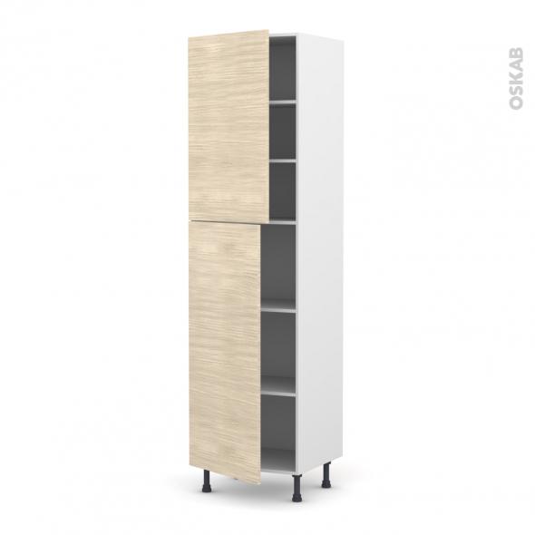 STILO Noyer Blanchi - Armoire étagère N°2427  - 2 portes - L60xH217xP58