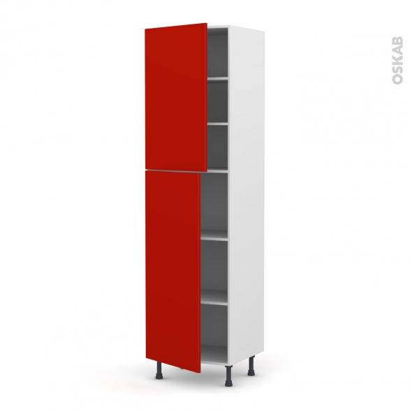 GINKO Rouge - Armoire étagère N°2427  - 2 portes - L60xH217xP58