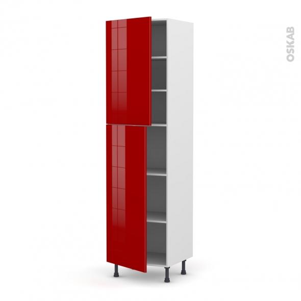 Colonne de cuisine N°2427 - Armoire étagère - STECIA Rouge - 2 portes - L60 x H217 x P58 cm