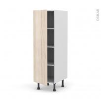 Colonne de cuisine N°26 - Armoire étagère - IKORO Chêne clair - 1 porte - L40 x H125 x P58 cm