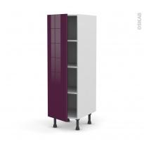 Colonne de cuisine N°26 - Armoire étagère - KERIA Aubergine - 1 porte - L40 x H125 x P58 cm