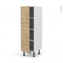 Colonne de cuisine N°26 - Armoire étagère - HOSTA Chêne naturel - 1 porte - L40 x H125 x P58 cm