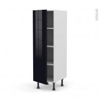 Colonne de cuisine N°26 - Armoire étagère - KERIA Noir - 1 porte - L40 x H125 x P58 cm