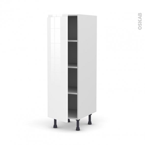 Colonne de cuisine N°26 - Armoire étagère - IPOMA Blanc brillant - 1 porte - L40 x H125 x P58 cm