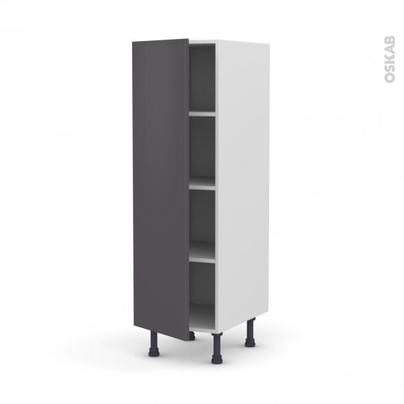 Colonne de cuisine N°26 - Armoire étagère - GINKO Gris - 1 porte - L40 x H125 x P58 cm