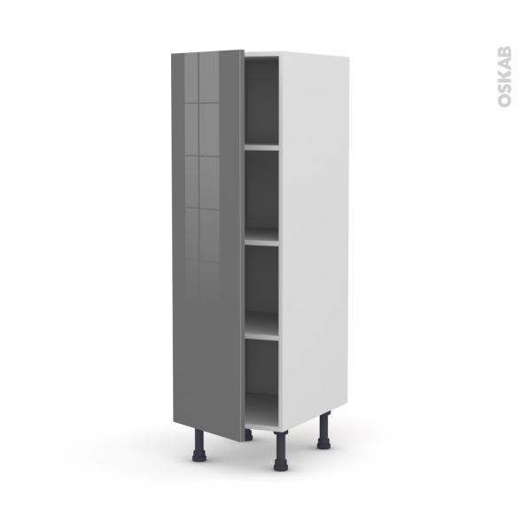 Colonne de cuisine N°26 - Armoire étagère - STECIA Gris - 1 porte - L40 x H125 x P58 cm
