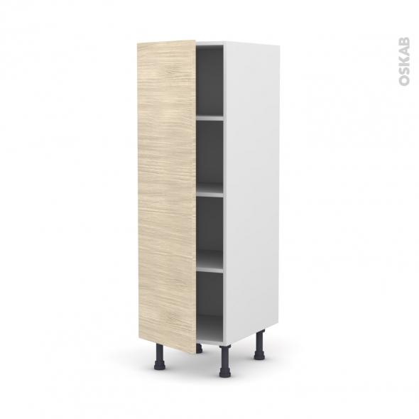 Colonne de cuisine N°26 - Armoire étagère - STILO Noyer Blanchi - 1 porte - L40 x H125 x P58 cm