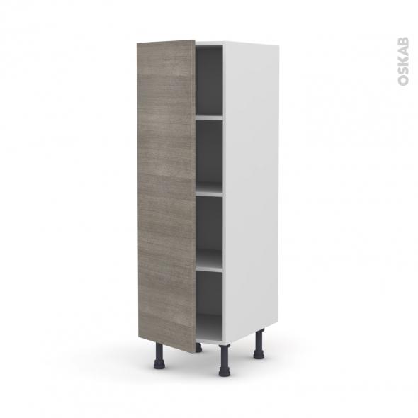 Colonne de cuisine N°26 - Armoire étagère - STILO Noyer Naturel - 1 porte - L40 x H125 x P58 cm