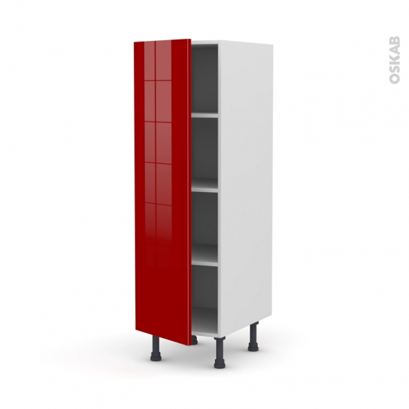 Colonne de cuisine N°26 - Armoire étagère - STECIA Rouge - 1 porte - L40 x H125 x P58 cm