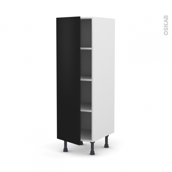 Colonne de cuisine N°26 - Armoire étagère - GINKO Noir - 1 porte - L40 x H125 x P58 cm