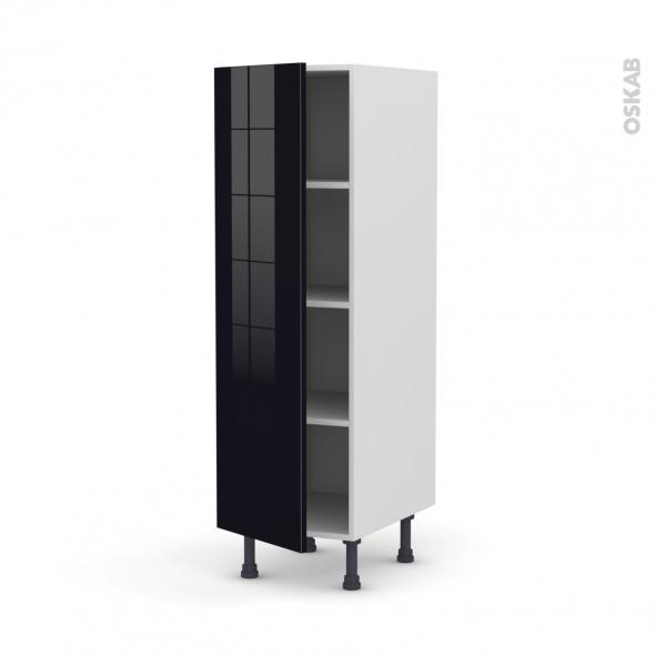 KERIA Noir - Armoire étagère N°26  - 1 porte - L40xH125xP58