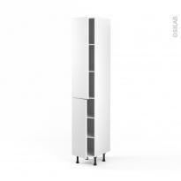 Colonne de cuisine N°2326 - Armoire étagère - GINKO Blanc - 2 portes - L40 x H217 x P58 cm