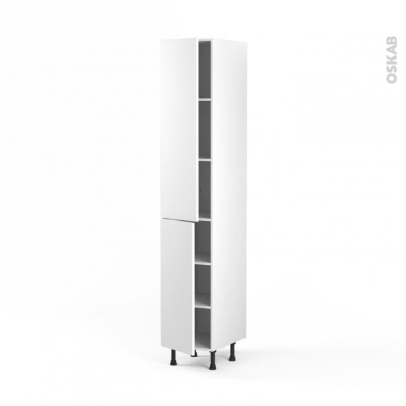 GINKO Blanc - Armoire étagère N°2326  - 2 portes - L40xH217xP58