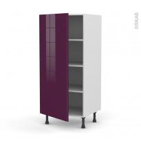 Colonne de cuisine N°27 - Armoire étagère - KERIA Aubergine - 1 porte - L60 x H125 x P58 cm