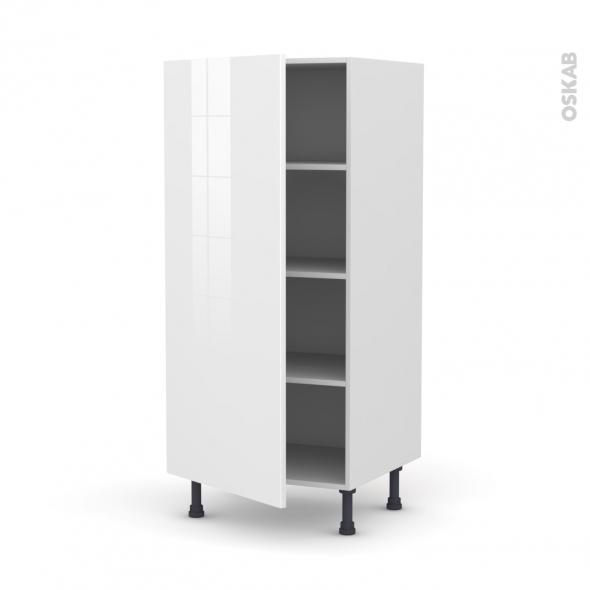 Colonne de cuisine N°27 - Armoire étagère - STECIA Blanc - 1 porte - L60 x H125 x P58 cm
