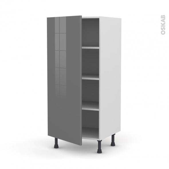 STECIA Gris - Armoire étagère N°27  - 1 porte - L60xH125xP58