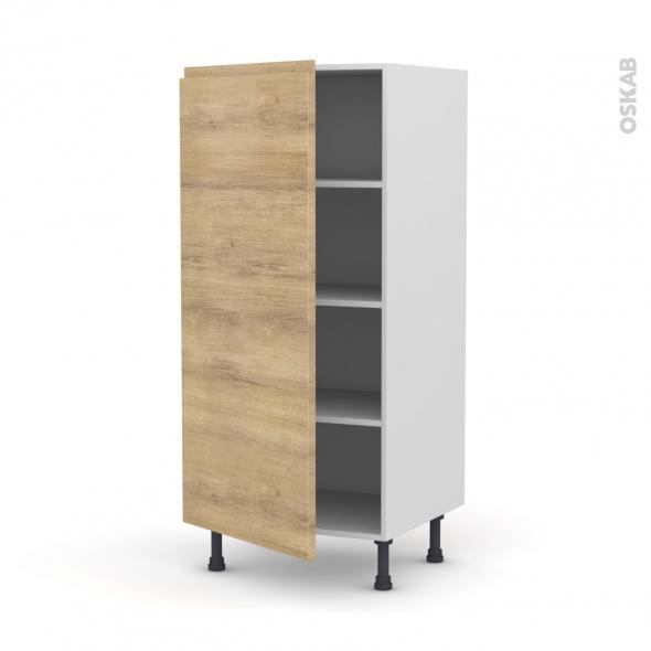 Colonne de cuisine N°27 - Armoire étagère - IPOMA Chêne naturel - 1 porte - L60 x H125 x P58 cm