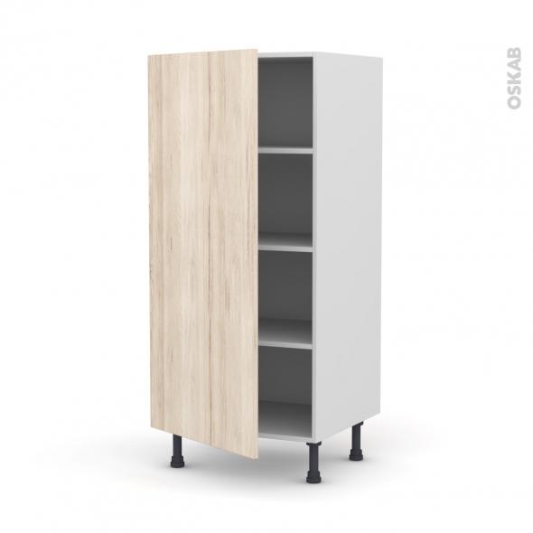 Colonne de cuisine N°27 - Armoire étagère - IKORO Chêne clair - 1 porte - L60 x H125 x P58 cm