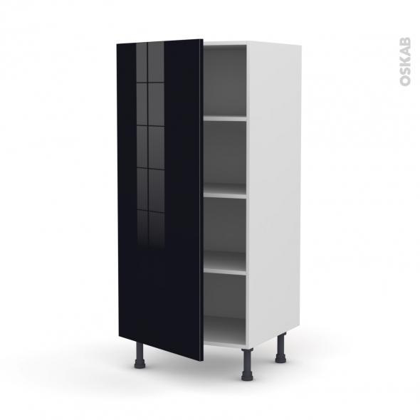 Colonne de cuisine N°27 - Armoire étagère - KERIA Noir - 1 porte - L60 x H125 x P58 cm