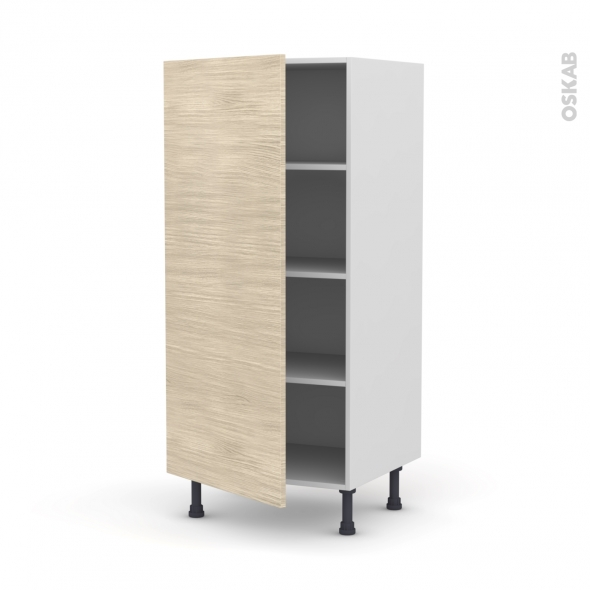 Colonne de cuisine N°27 - Armoire étagère - STILO Noyer Blanchi - 1 porte - L60 x H125 x P58 cm
