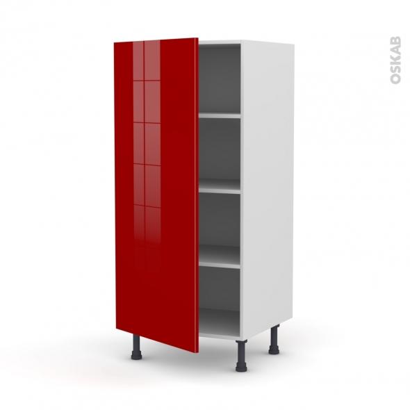 Colonne de cuisine N°27 - Armoire étagère - STECIA Rouge - 1 porte - L60 x H125 x P58 cm