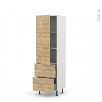 Colonne de cuisine N°2757 - Armoire étagère - HOSTA Chêne naturel - 2 tiroirs casserolier - L60 x H195 x P58 cm