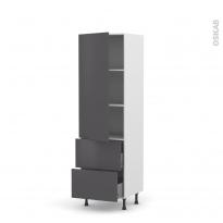 Colonne de cuisine N°2757 - Armoire étagère - GINKO Gris - 2 tiroirs casserolier - L60 x H195 x P58 cm