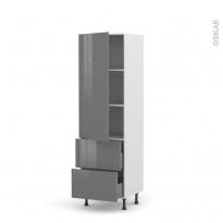 Colonne de cuisine N°2757 - Armoire étagère - STECIA Gris - 2 tiroirs casserolier - L60 x H195 x P58 cm