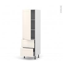 Colonne de cuisine N°2757 - Armoire étagère - FILIPEN Ivoire - 2 tiroirs casserolier - L60 x H195 x P58 cm