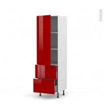 Colonne de cuisine N°2757 - Armoire étagère - STECIA Rouge - 2 tiroirs casserolier - L60 x H195 x P58 cm